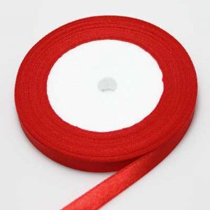 Satin ribbon, red, 1cm x 21m, 1 piece, (SDD078)